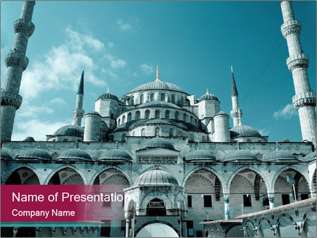 Turkish Blue Mosque Powerpoint Template Backgrounds Google Slides