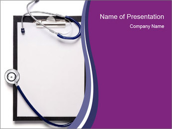 Clipboard and Medical Stethoscope PowerPoint Template