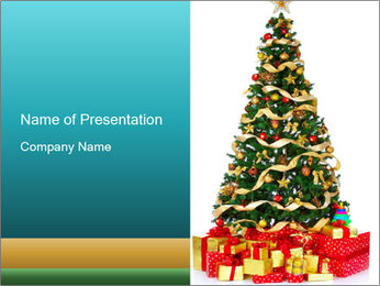 Presents under Xmas Tree PowerPoint Template