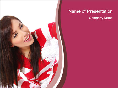 Woman Decorating White Christmas Tree PowerPoint Template