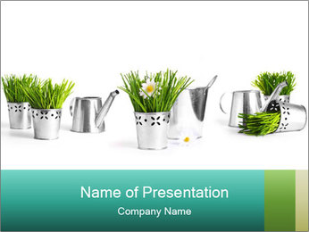 Flowers and Green Grass in Water Can PowerPoint Template