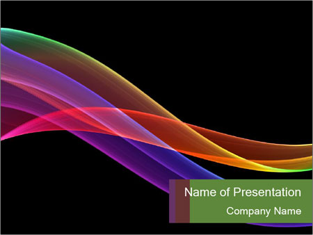 Rainbow Lines On Black Background Powerpoint Template Infographics Slides