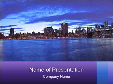 Panoramic View to Manhattan PowerPoint Template
