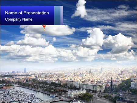 Barcelona City View from the Sky PowerPoint Template