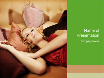 Beautiful Woman in Red Silk Dress Lying on Lounge Sofa PowerPoint Template