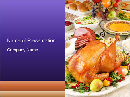 Traditional Thanksgiving Turkey Powerpoint Template Backgrounds