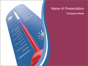 Blue Thermometer PowerPoint Template