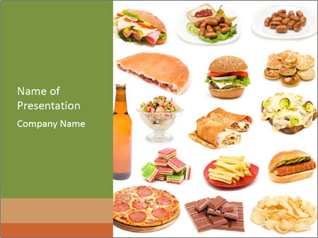 Unhealthy Junk Food Powerpoint Template Infographics Slides