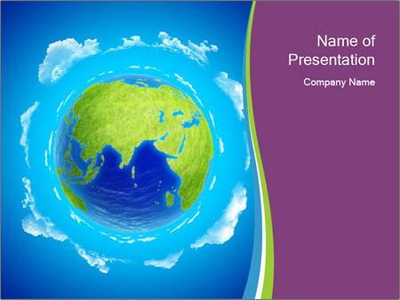 Blue and Green 3D Planet Sjablonen PowerPoint presentatie
