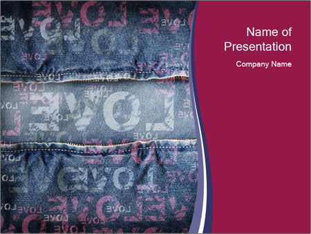 Denim with Love Print PowerPoint Template