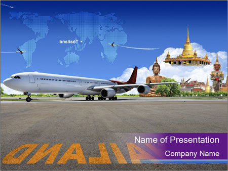 Travel to Thailand by Plane PowerPoint Template