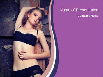 Seductive Lonely Woman PowerPoint Template