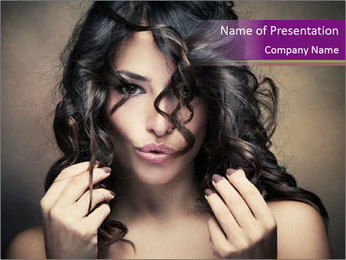 Woman with Black Curly Hair Style PowerPoint Template