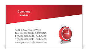 Red Clock Business Card Template
