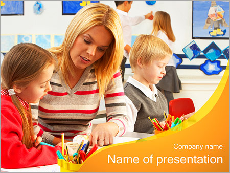 Kids And Teacher Powerpoint Template Infographics Slides