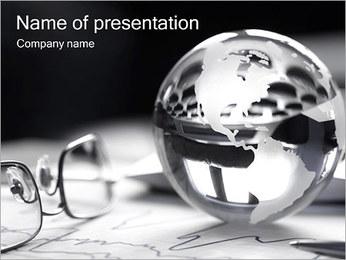 Серебряная Сфера с Картой Шаблоны презентаций PowerPoint