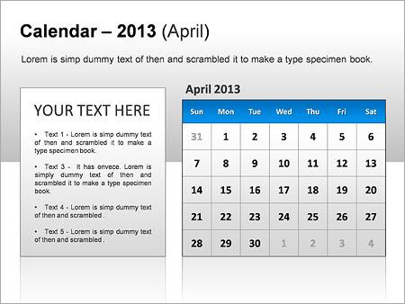 Calendario 2013 Gráficos y diagramas para PowerPoint - Diapositiva 12