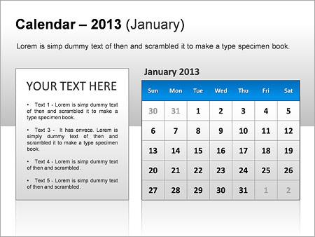 Calendario 2013 Gráficos y diagramas para PowerPoint - Diapositiva 9