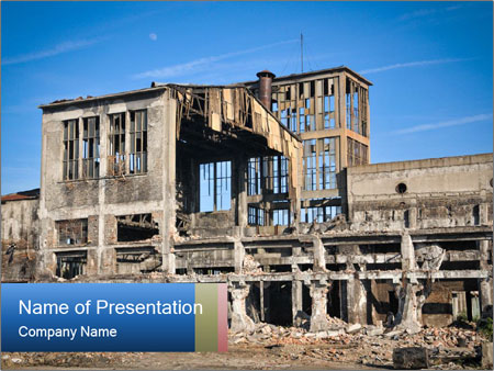 Ruined Industrial Building PowerPoint Template
