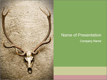 Skull of Deer Hanging on Wall PowerPoint Template