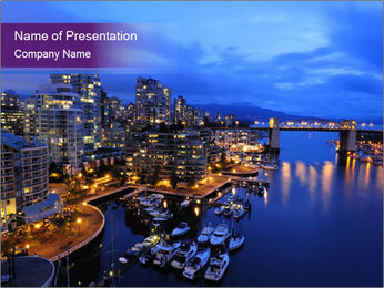 Vancouver Downtown at Night PowerPoint Template