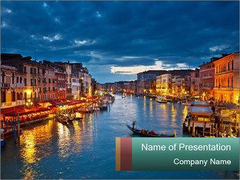 Illumination Venice at Night PowerPoint Template