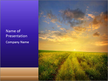 Sun Setting Over Medow PowerPoint Template