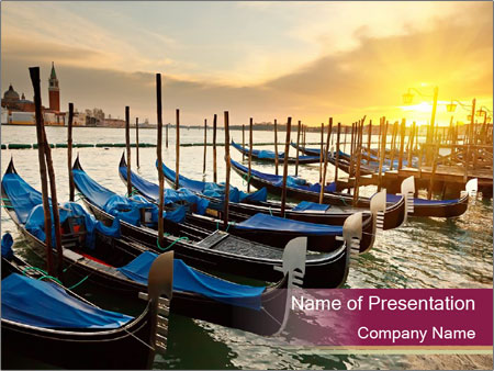 Boats in Venice PowerPoint Template
