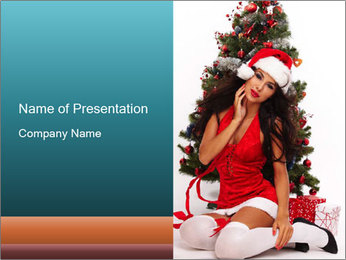 Santa Helper Next to Christmas Tree PowerPoint Template