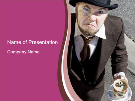 Annoyed Man in Vintage Costume PowerPoint šablony