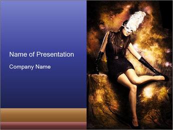 Super Model Posing in Venetian Mask PowerPoint Template
