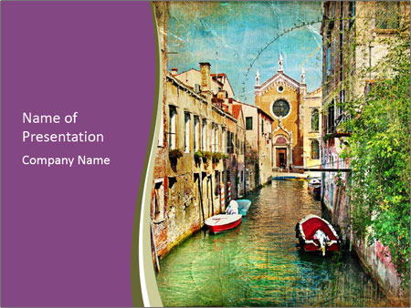 Oil Painting with Venice Canal Шаблоны презентаций PowerPoint