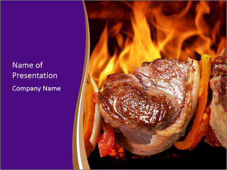 Cooking Barbecue on Fire Szablony prezentacji PowerPoint