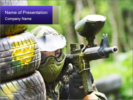 Paintball Player in Shelter PowerPoint Template