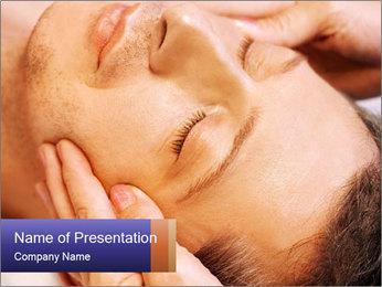 Man Enjoying Facial Massage PowerPoint Template