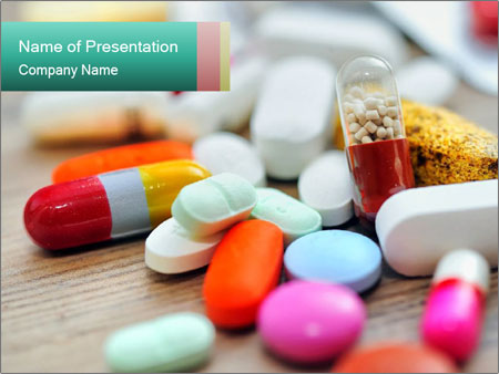 Various Pills Lying in the Table PowerPoint-Vorlagen