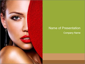 Photo Model with Sexual Red Lips PowerPoint Template