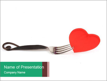 Red Paper Heart on Fork PowerPoint šablony