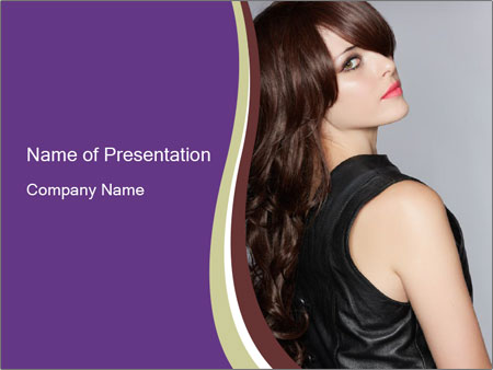 Model With Long Brown Hair Powerpoint Template Infographics Slides