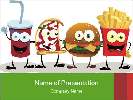 Junk Food Illustration Powerpoint Template Infographics Slides