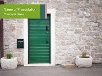 Stone House with Green Door PowerPoint Template