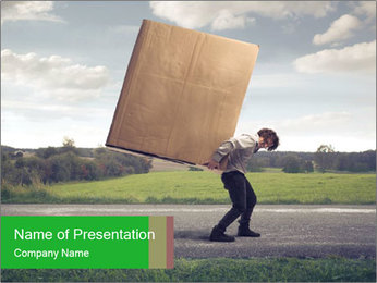 Businessman Carrying Large Box PowerPoint Template