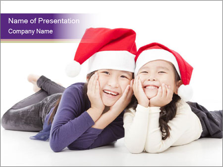 Brother and Sister Waiting for Christmas PowerPoint Template