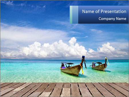 Wooden Boats on Thai Beach PowerPoint Template
