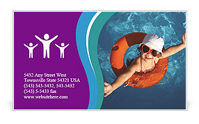 Girl In The Swimming Pool Business Card Template
