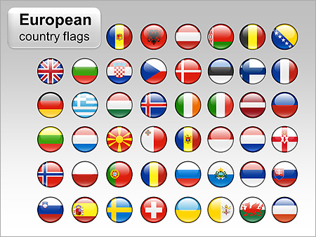 European Country Flags PPT Diagrams & Chart