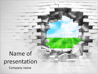 View Through Wall Hole PowerPoint Template