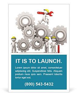 歯車機構を調整する労働者チーム 広告のテンプレート