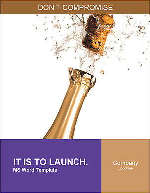 Champagne Bottle Word Template - Page 1