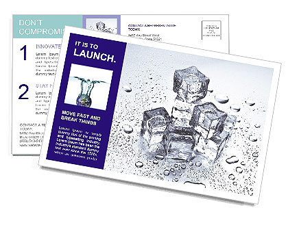 Ice For Cocktail Postcard Template
